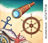 nautical illustrations set.... | Shutterstock .eps vector #627679718