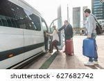 taxi driver with luggage... | Shutterstock . vector #627682742
