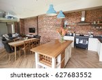 home interior with open plan... | Shutterstock . vector #627683552