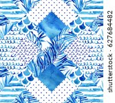 abstract textured geometric... | Shutterstock . vector #627684482