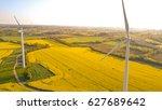 aerial view of wind turbines... | Shutterstock . vector #627689642