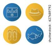 summer recreation items. flat... | Shutterstock .eps vector #627689792
