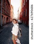 travel guide. young female... | Shutterstock . vector #627690686