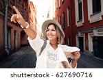 travel guide. young female... | Shutterstock . vector #627690716