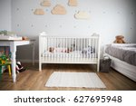 side view of baby girl sleeping ... | Shutterstock . vector #627695948