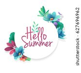 round banner with the  hello... | Shutterstock .eps vector #627696962