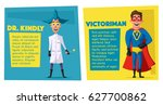 crazy scientist and superhero... | Shutterstock .eps vector #627700862