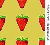 strawberry. seamless vector... | Shutterstock .eps vector #627716432