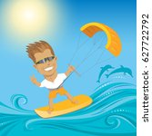 kite surfer on summer ocean  ... | Shutterstock .eps vector #627722792