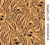 abstract tiger seamless pattern.... | Shutterstock .eps vector #627728906