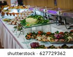 catering and food for wedding... | Shutterstock . vector #627729362