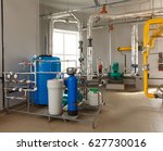 interior gas boiler house with... | Shutterstock . vector #627730016