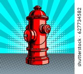 Red Fire Hydrant Pop Art Style...