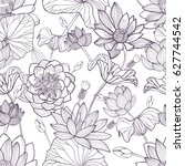 lotus floral seamless pattern.... | Shutterstock .eps vector #627744542