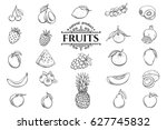 vector hand drawn fruits icons... | Shutterstock .eps vector #627745832