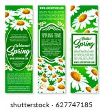 hello spring floral banner set. ... | Shutterstock .eps vector #627747185