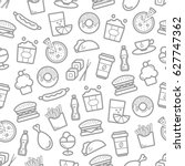 fast food seamless pattern of... | Shutterstock .eps vector #627747362