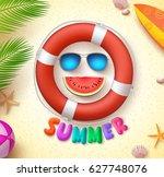summer funny vector concept... | Shutterstock .eps vector #627748076