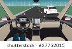 autonomous self driving car...   Shutterstock .eps vector #627752015