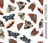 summer moth seamless vector... | Shutterstock .eps vector #627753026