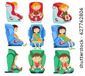 baby car seats set with smiling ... | Shutterstock .eps vector #627762806