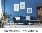 old fashioned blue lounge with... | Shutterstock . vector #627788126