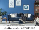 spacious blue living room... | Shutterstock . vector #627788162