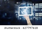 person demonstrate tablet pc   Shutterstock . vector #627797618