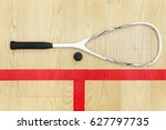 white squash racket and ball on ... | Shutterstock . vector #627797735