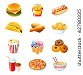 colorful icons with fast food... | Shutterstock .eps vector #62780335