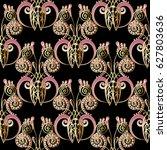 damask seamless pattern. floral ... | Shutterstock .eps vector #627803636