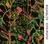 floral vector seamless pattern. ... | Shutterstock .eps vector #627804506