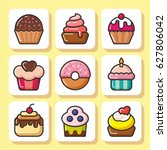 sweets icons set   cupcakes ... | Shutterstock .eps vector #627806042