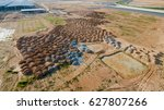 aerial view construction site... | Shutterstock . vector #627807266