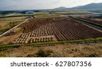 aerial view construction site... | Shutterstock . vector #627807356