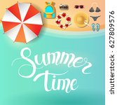 vector summer poster with... | Shutterstock .eps vector #627809576