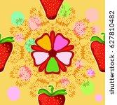 strawberry and flower. seamless ... | Shutterstock .eps vector #627810482