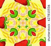 strawberry kaleidoscope.... | Shutterstock .eps vector #627810536