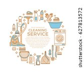 household cleaning supplies... | Shutterstock .eps vector #627813572