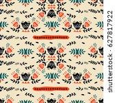 abstract flower pattern... | Shutterstock .eps vector #627817922