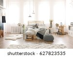 modern spacious bedroom with... | Shutterstock . vector #627823535