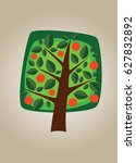 square vector tree with oranges ... | Shutterstock .eps vector #627832892