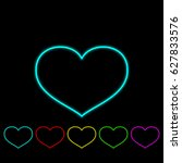 set of outline hearts with... | Shutterstock .eps vector #627833576
