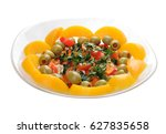 salad with peach  tomato ... | Shutterstock . vector #627835658