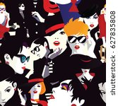 stylish women in style pop art  ... | Shutterstock .eps vector #627835808