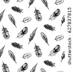 hand drawn seamless pattern... | Shutterstock .eps vector #627837815