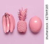 tropical pink fruit mix....   Shutterstock . vector #627849185