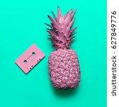 pineapple and audio cassette.... | Shutterstock . vector #627849776