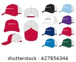 trucker sportswear cap    front ... | Shutterstock .eps vector #627856346