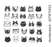 Stock vector cute cat doodle set sketch line icons pets hand drawn characters for poster placard postcard 627871922